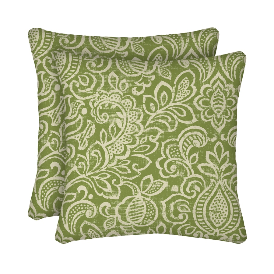 Garden Treasures 2-Pack Green Stencil Paisley Square Throw Outdoor Decorative Pillow