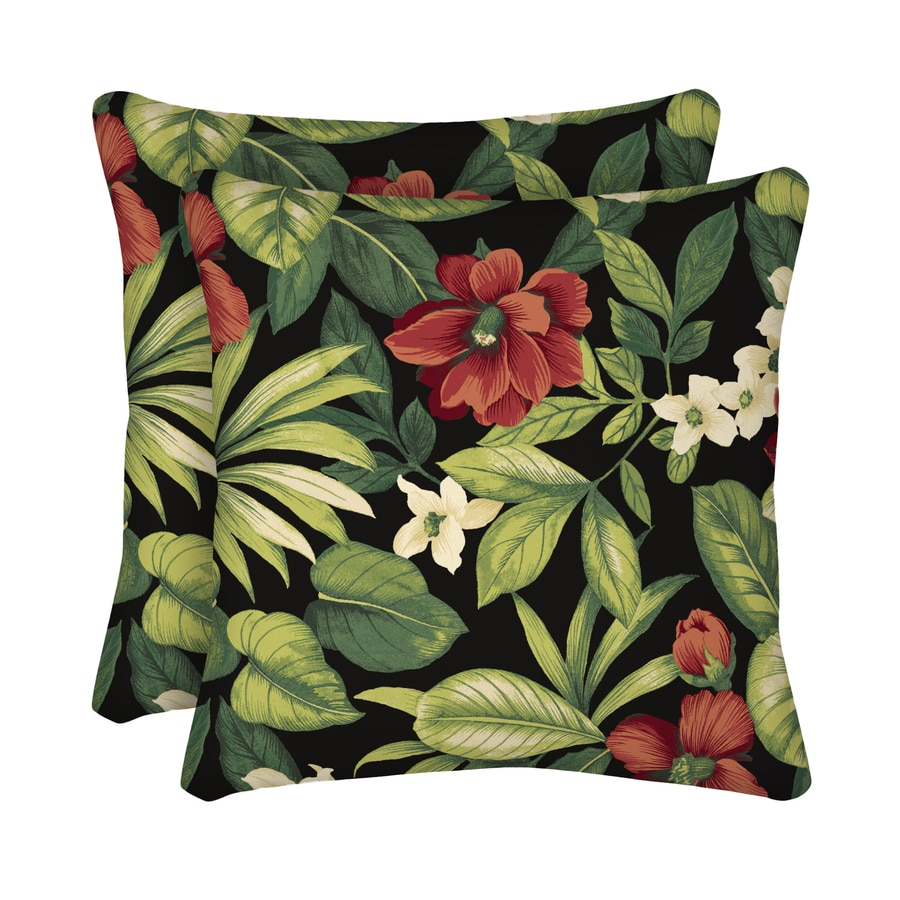 Garden Treasures 2-Pack Sanibel Black Tropical Square Throw Outdoor  Decorative Pillow