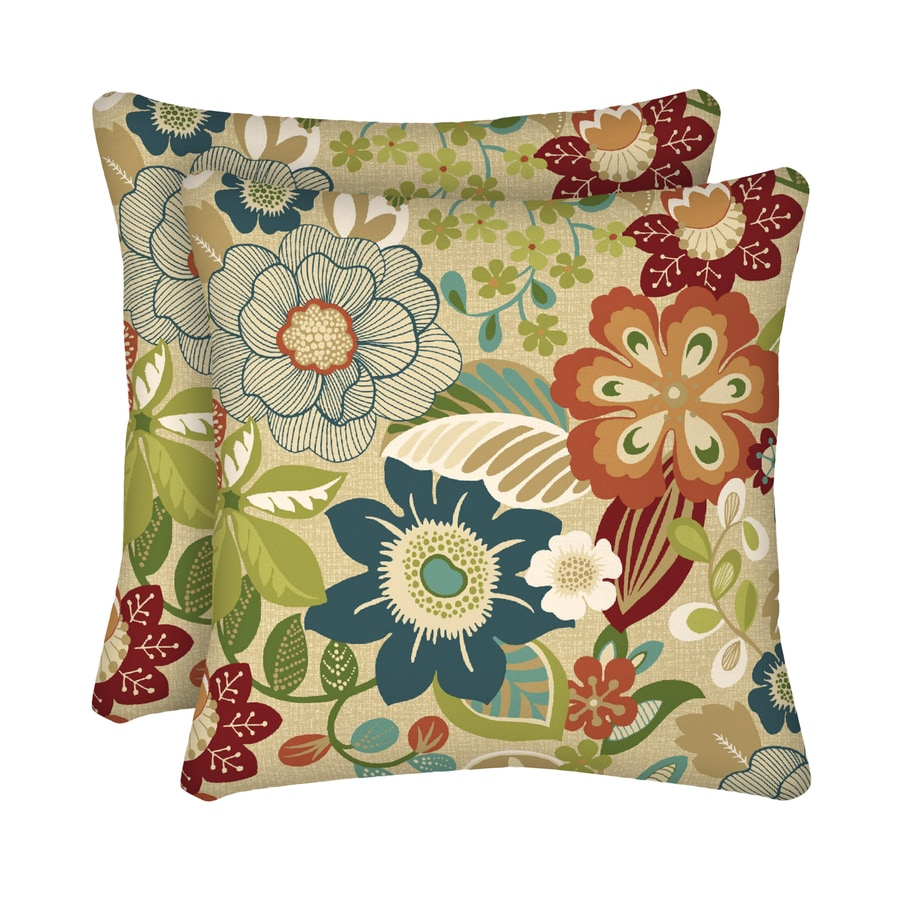 Shop Garden Treasures 2-Pack Bloomery Floral Square Throw Outdoor Decorative Pillow at Lowes.com