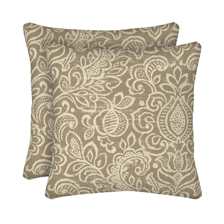 Throw Pillows Native American : Shop Garden Treasures 2-Pack Neutral Stencil and Paisley Square Throw Pillow Outdoor Decorative ...