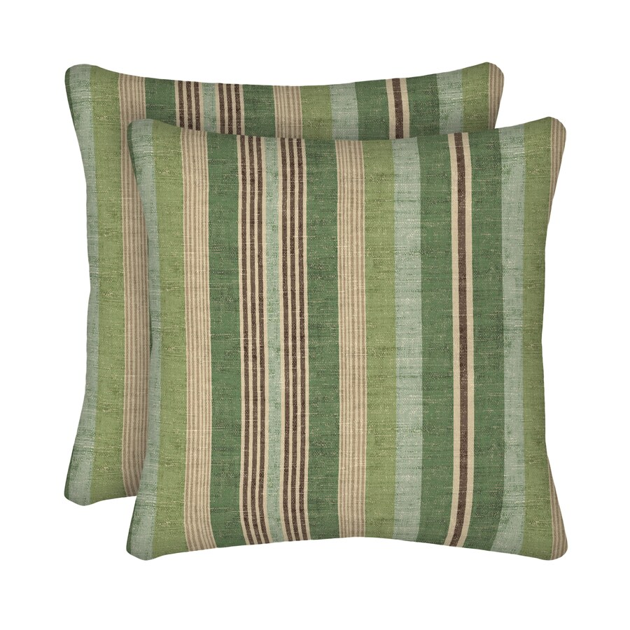 Shop allen + roth Unbranded Striped Green Square Throw Pillow at Lowes.com