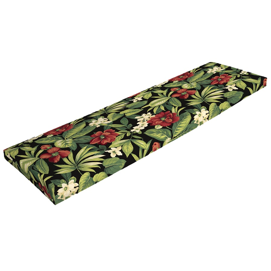 Garden Treasures Sanibel Black Tropical Patio Bench Cushion for Patio Bench