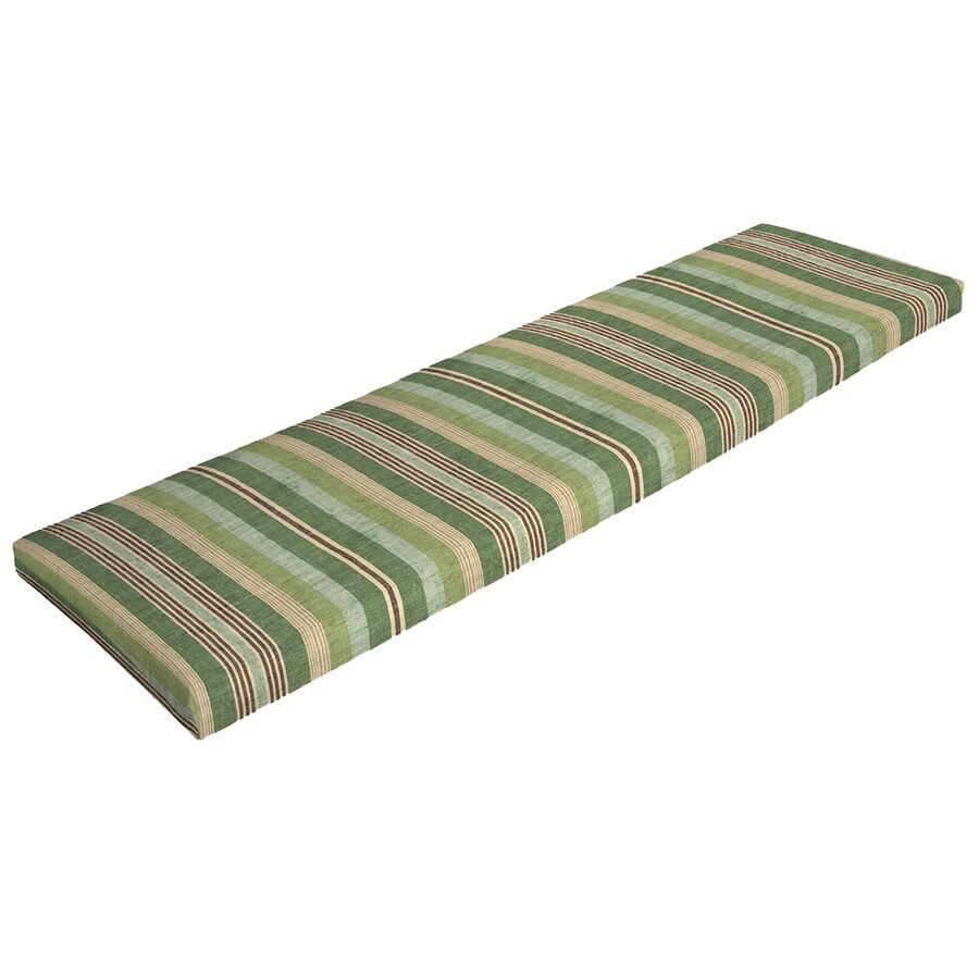 Shop Garden Treasures Stripe Green Stripe Patio Bench Cushion For Patio Bench At