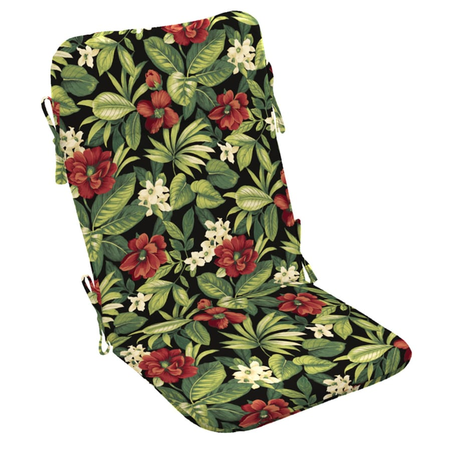 Garden Treasures Sanibel Black Tropical Standard Patio Chair Cushion for Adirondack Chair
