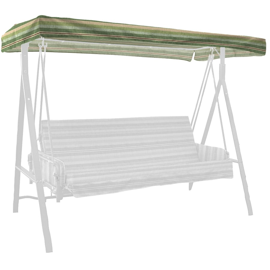 Shop Allen Roth Stripe Green Porch Swing Canopy At