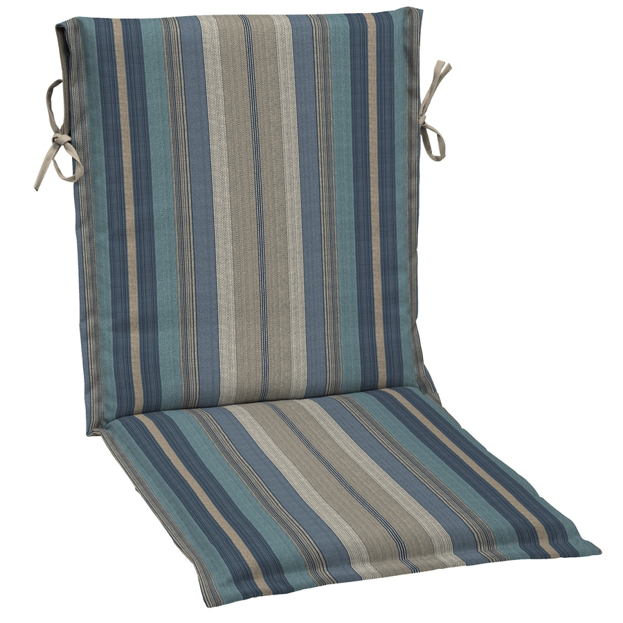 Allen + Roth Stripe Blue Stripe Standard Patio Chair Cushion