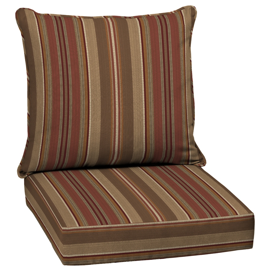 allen + roth Chili Glenlee Stripe Cushion for Deep Seat Chair