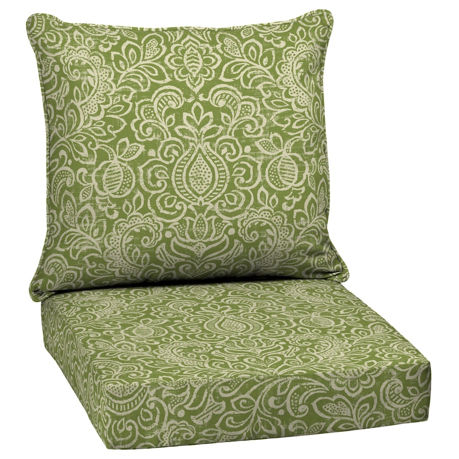 Garden Treasures Green Stencil Glenlee Damask Deep Seat Patio Chair Cushion  For Deep Seat Chair