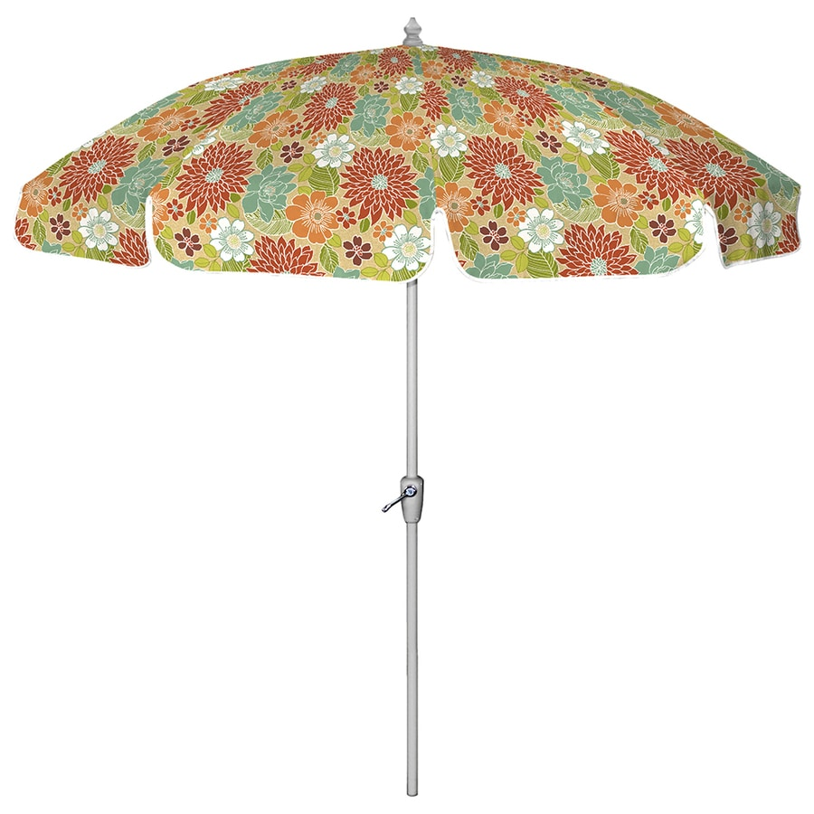 7 Ft 6 In Round Multicolor Patio Umbrella With Tilt And Crank At