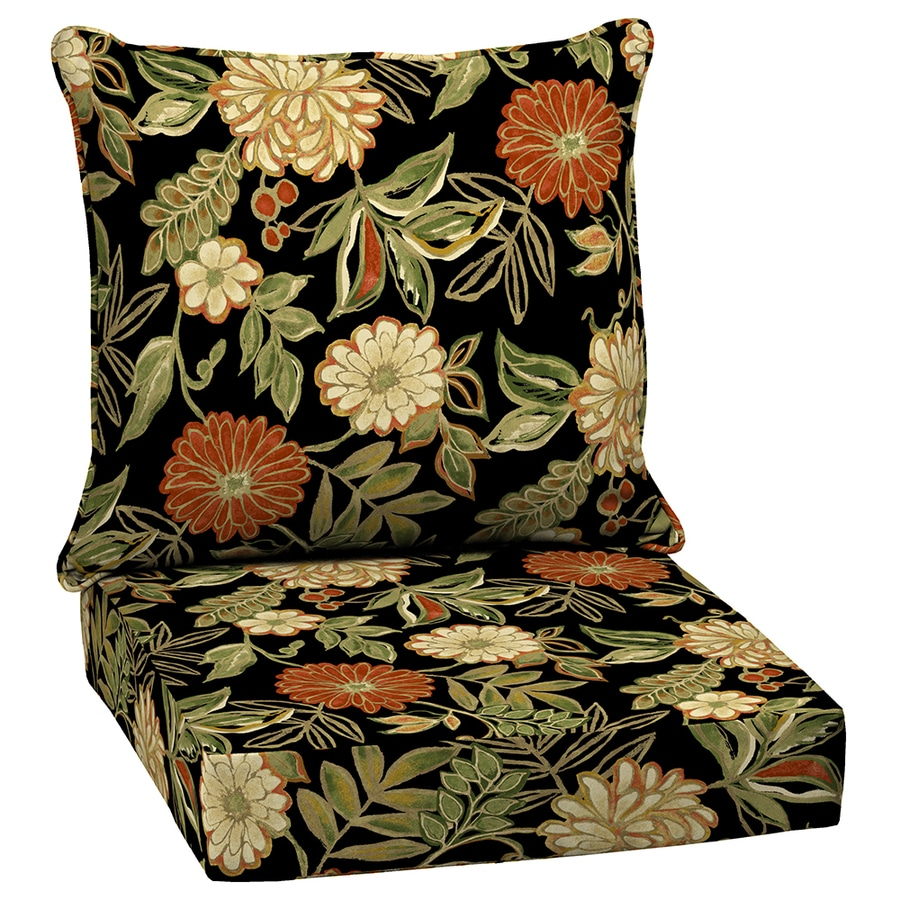 Arden Outdoor Floral Black Deep Seat Patio Chair Cushion