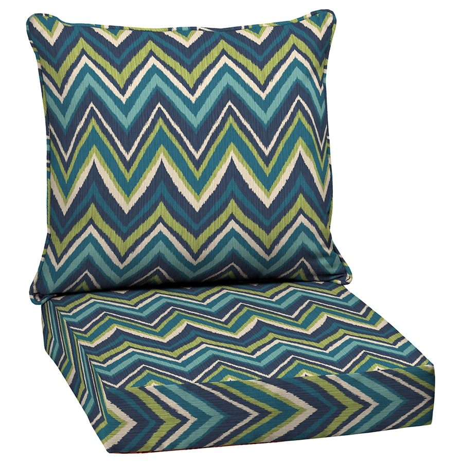 Garden Treasures Blue Flame Stitch Glenlee Blue Flame Stitch Geometric Deep Seat Patio Chair Cushion for Deep Seat Chair