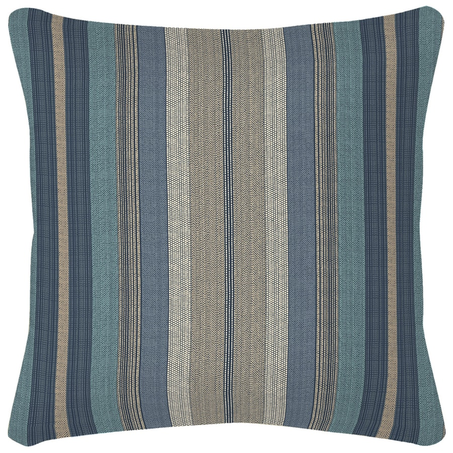 Garden Treasures Blue and Striped Square Throw Pillow Outdoor Decorative Pillow