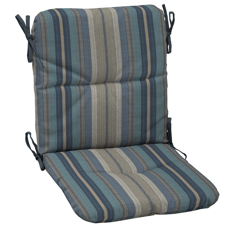 allen + roth Stripe Blue Stripe High Back Patio Chair Cushion for High-back Chair