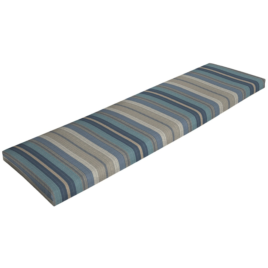 Shop Allen Roth Stripe Blue Stripe Blue Stripe Patio Bench Cushion For Patio Bench At