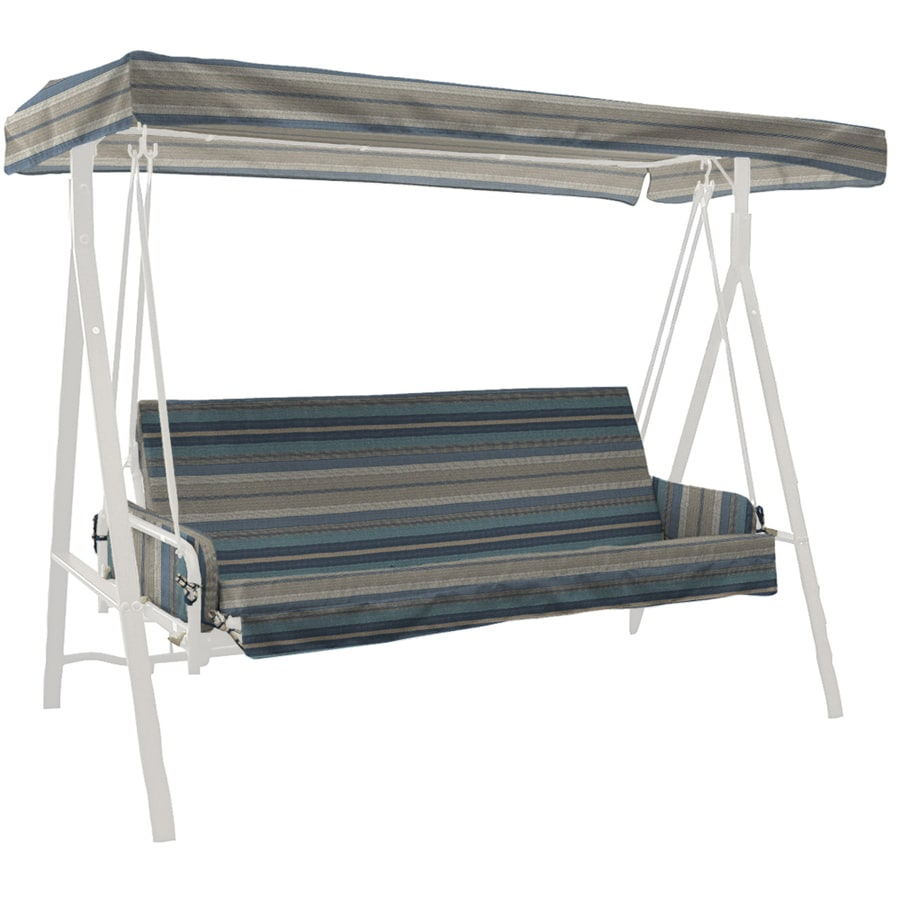 allen + roth Blue Stripe Cushion for Porch Swing