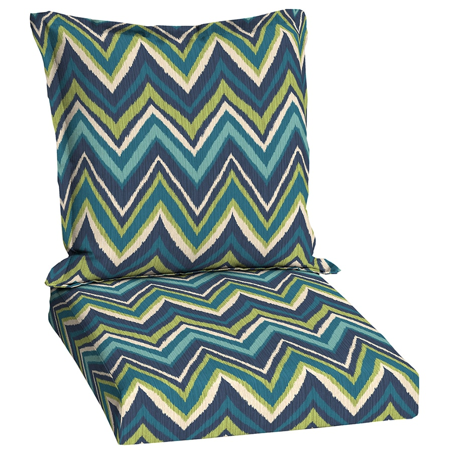 Garden Treasures Blue Flame Stitch Blue Flame Stitch Geometric Standard Patio Chair Cushion