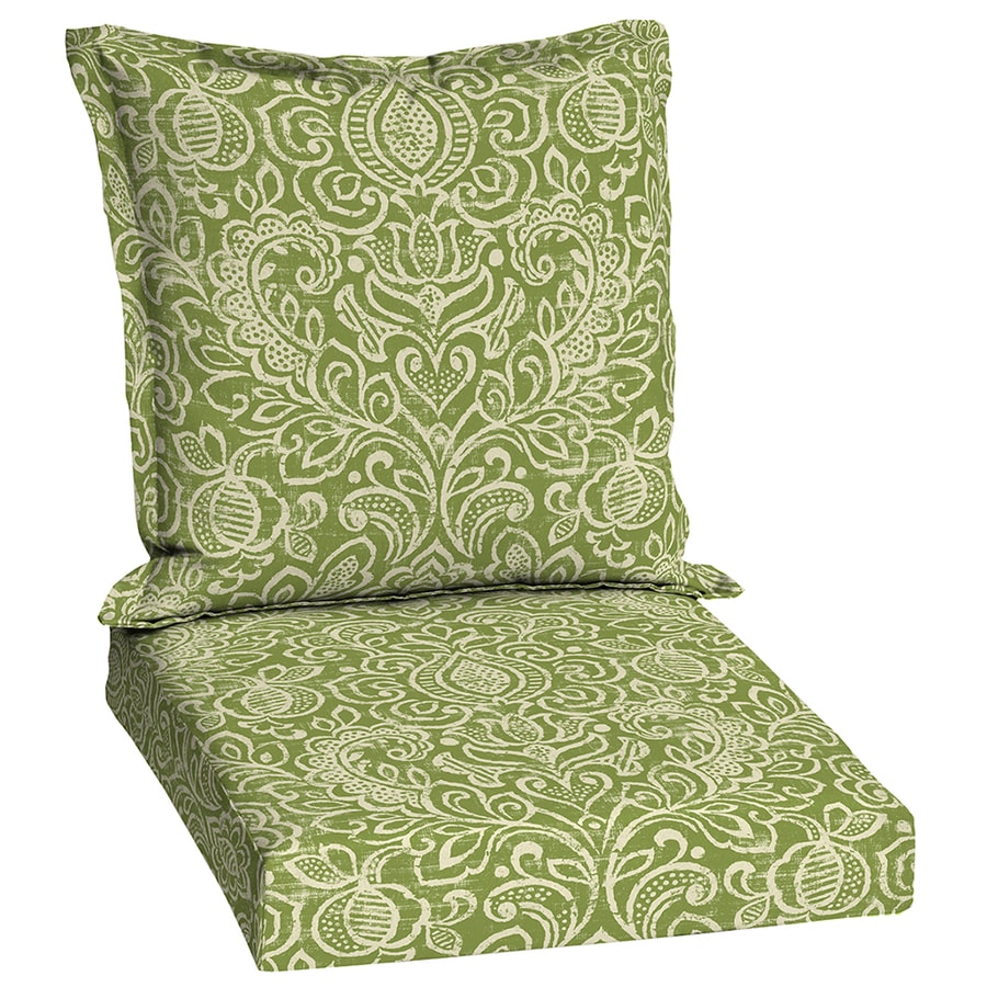 Garden Treasures Green Stencil Damask Deep Seat Patio Chair Cushion for Deep Seat Chair