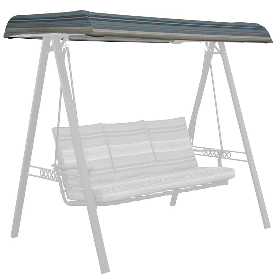 allen + roth Stripe Blue 3-Person Replacement Top for Porch Swing or ...