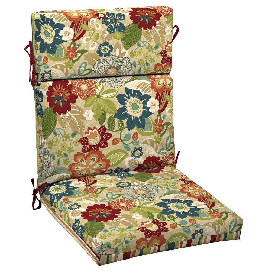 Garden Treasures Bloomery Floral Standard Patio Chair Cushion