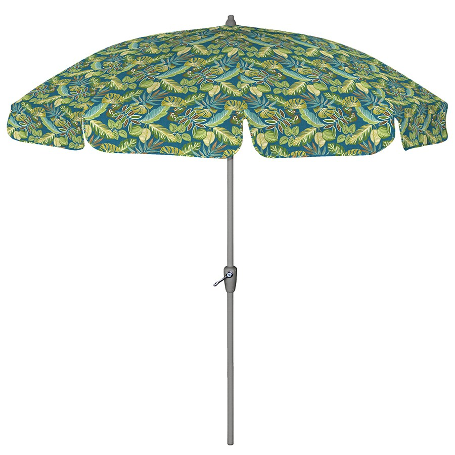 Round Blue Patio Umbrella With Tilt And Crank (Common: 7.5 Ft