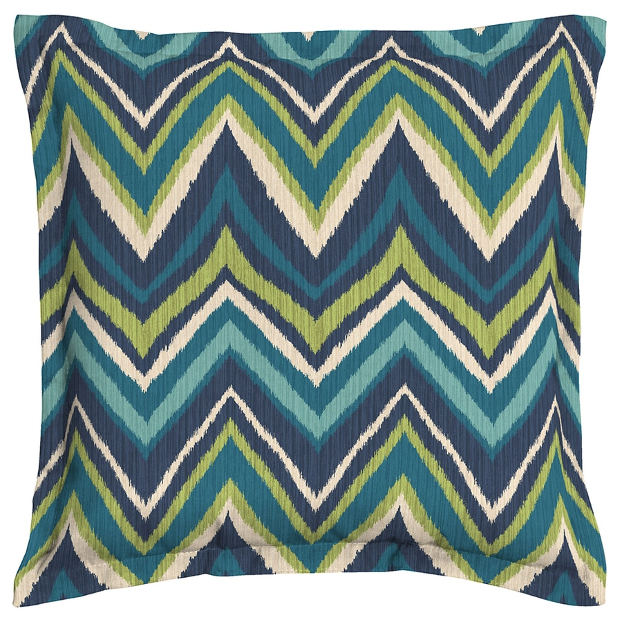 Garden Treasures Blue Flame Stitch Blue Flame Stitch and Chevron Square Throw Pillow Outdoor Decorative Pillow