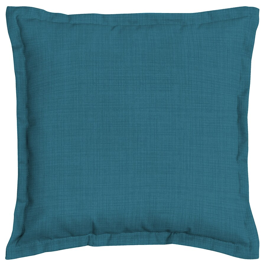 Garden Treasures Flame Stitch Solid Blue Flame Stitch and Solid Square Throw Pillow Outdoor Decorative Pillow