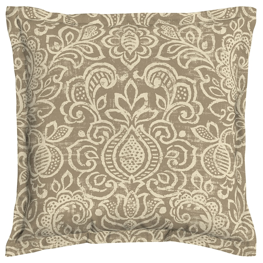 Garden Treasures Neutral Stencil Neutral Stencil and Paisley Square Throw Pillow Outdoor Decorative Pillow