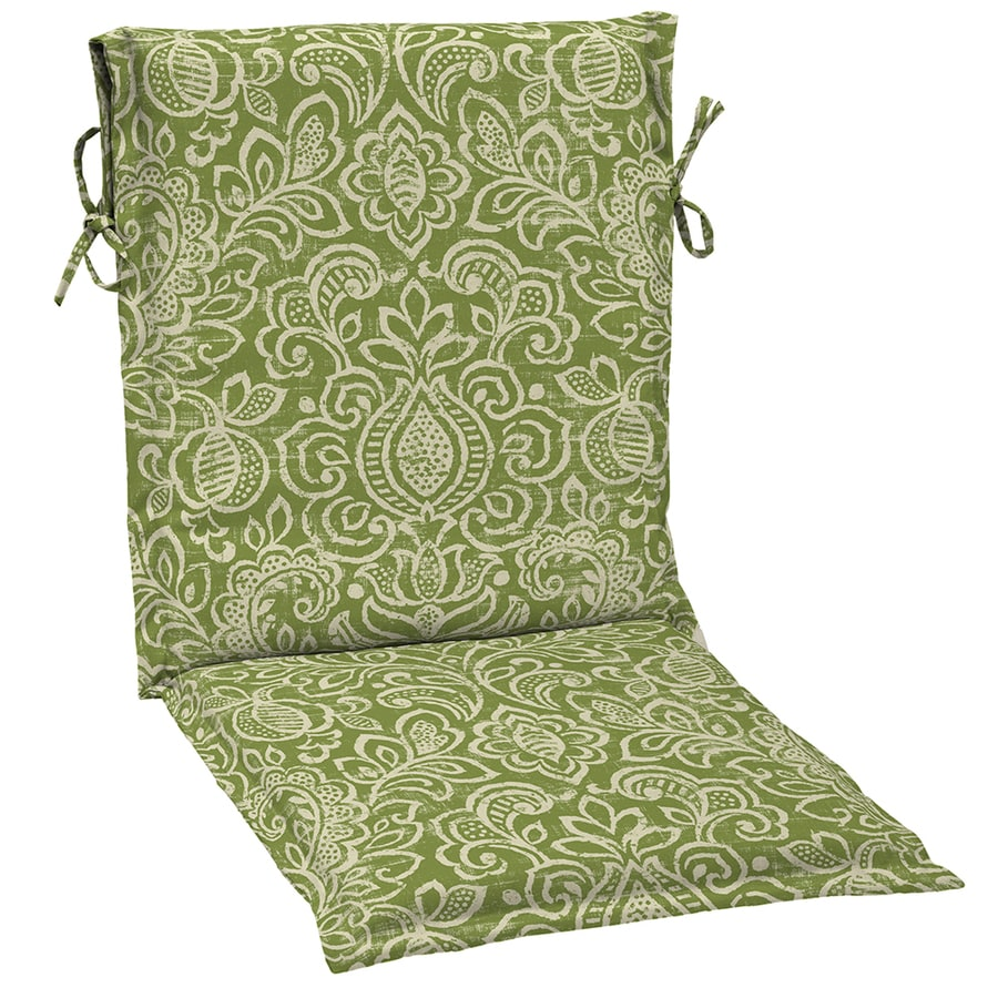 Garden Treasures Green Stencil Damask Standard Patio Chair Cushion For Sling
