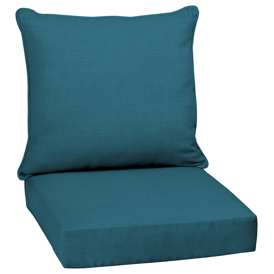 Shop garden treasures blue flame solid deep seat patio for Garden furniture cushions