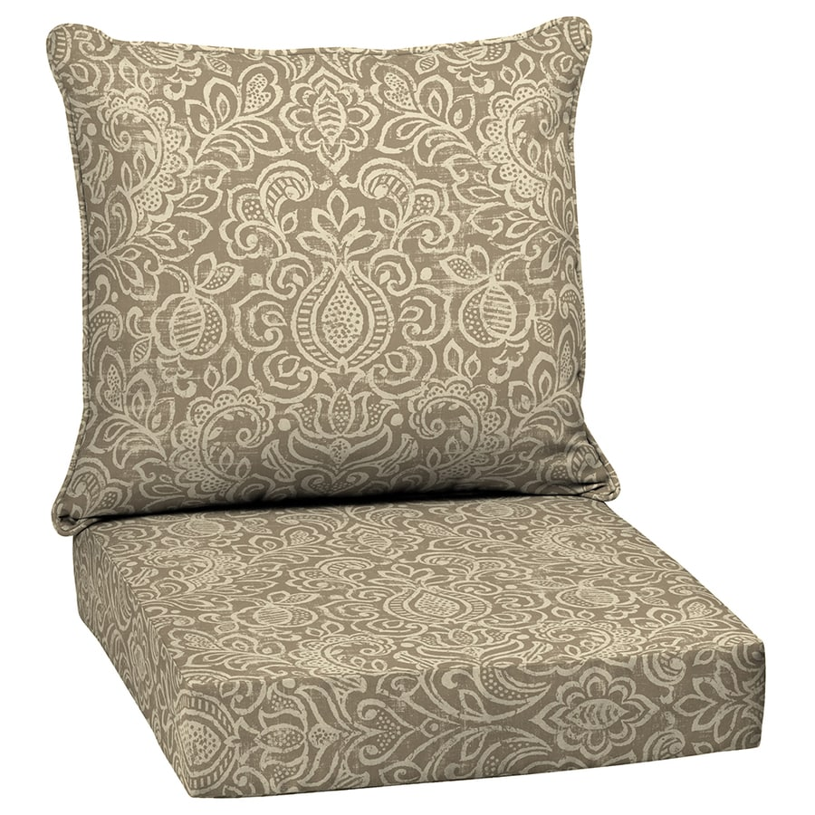 Garden Treasures Neutral Stencil Glenlee Damask Deep Seat Patio Chair Cushion for Deep Seat Chair