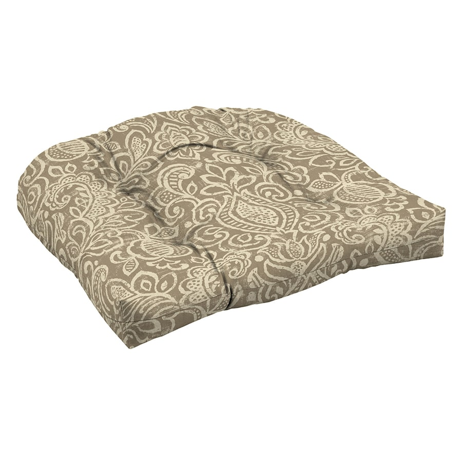 Garden Treasures Neutral Stencil Damask Standard Patio Chair Cushion