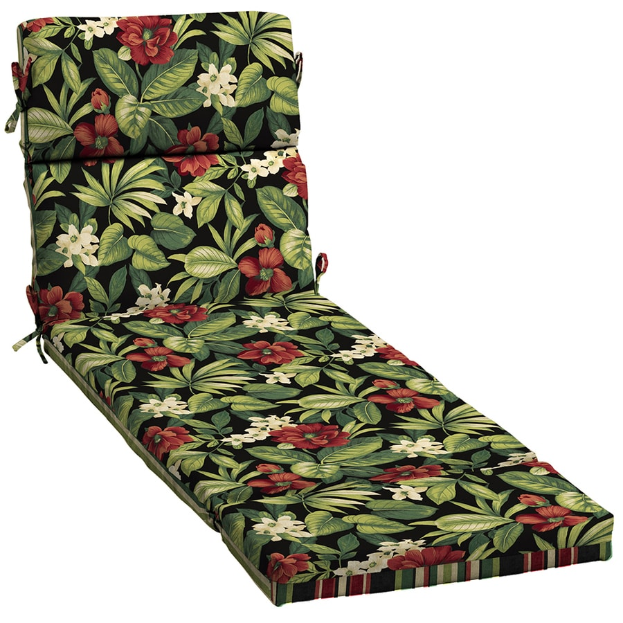 Garden Treasures Black Floral Tropical Standard Patio Chair Cushion for Chaise Lounge