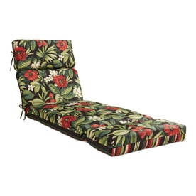 Garden Treasures Sanibel Black Tropical Fl Patio Chaise Lounge Chair Cushion