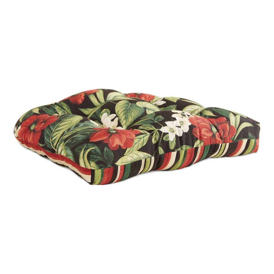 Garden Treasures Black Floral Black Floral Tropical Seat Pad For Universal