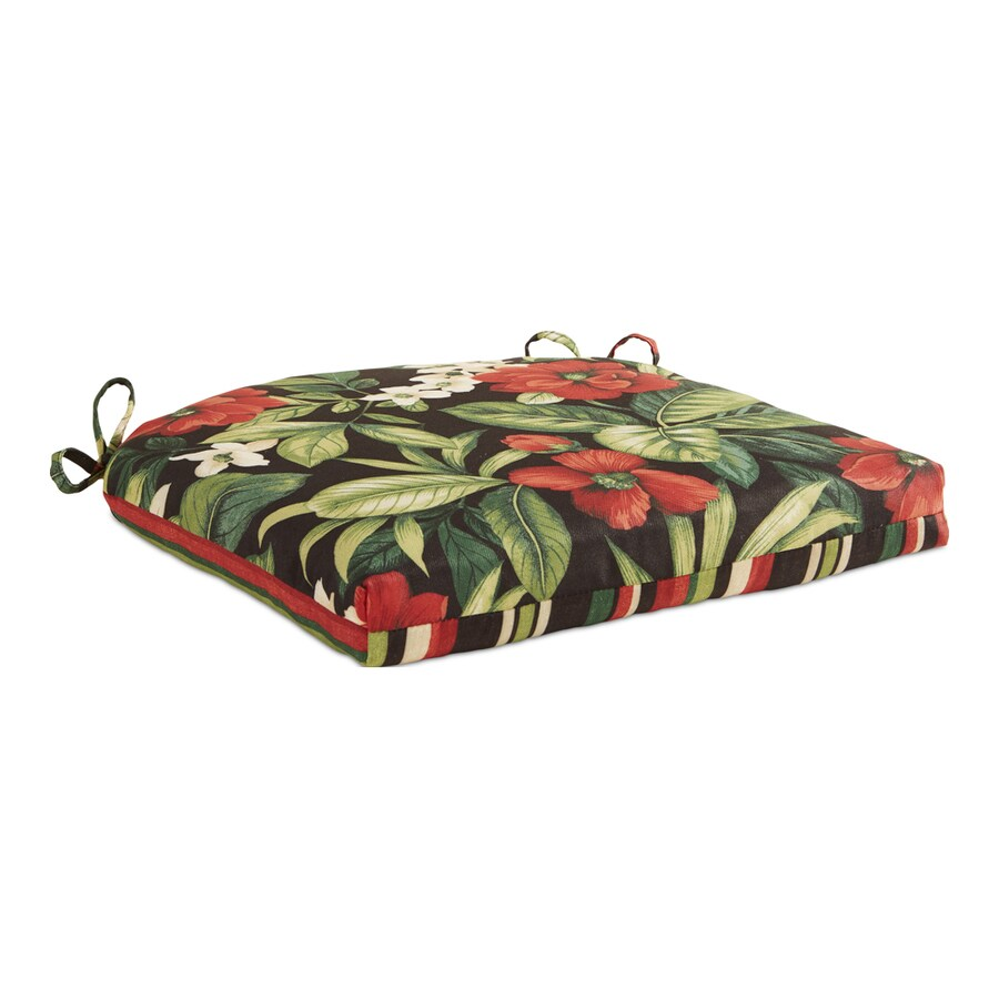 Garden Treasures 1-Piece Black Floral Seat Pad