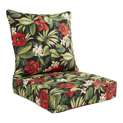 Enjoyable 2 Piece Sanibel Black Tropical Black Floral Deep Seat Patio Chair Cushion Machost Co Dining Chair Design Ideas Machostcouk