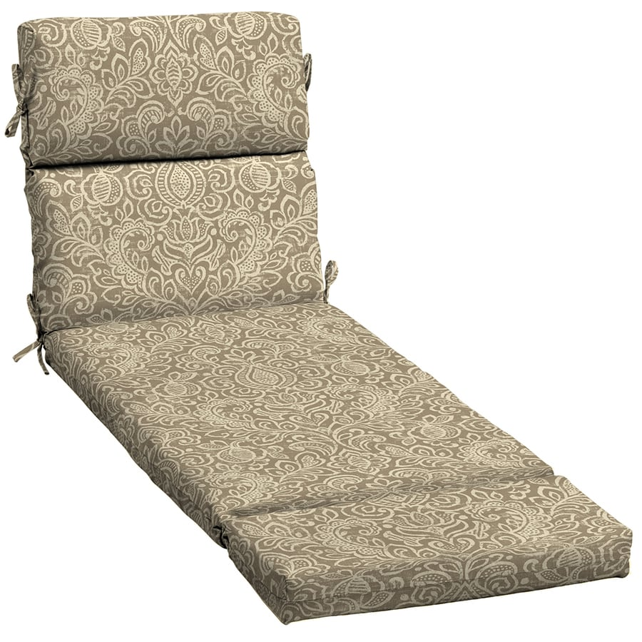 Garden Treasures Neutral Stencil Damask Standard Patio Chair Cushion for Chaise Lounge