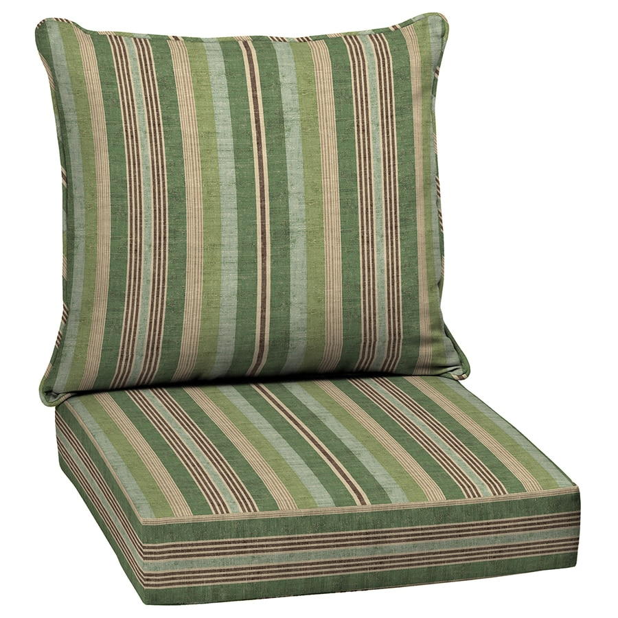 allen + roth Multi Eucalyptus Multi Eucalyptus Stripe Deep Seat Patio Chair Cushion for Deep Seat Chair