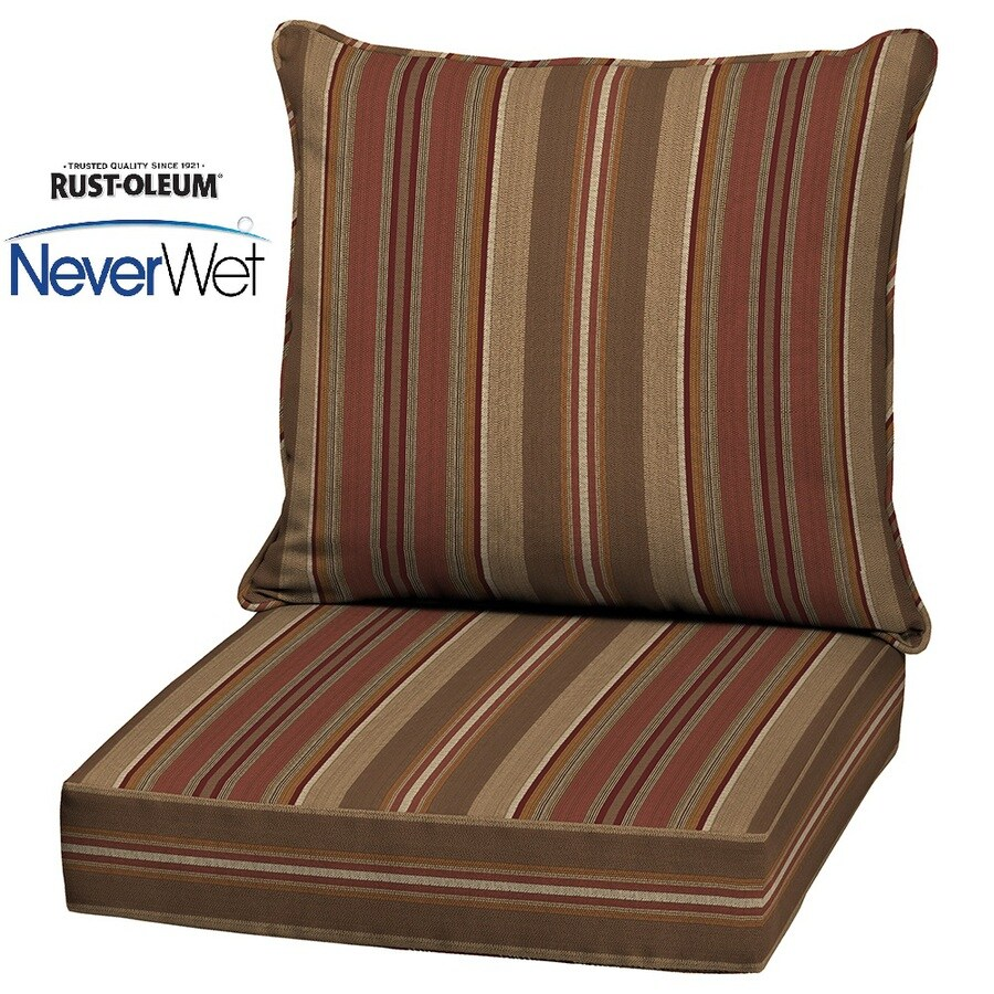 allen + roth Glenlee Striped Chili UV-Proected NeverWet Deep Seat Patio Chair Cushion