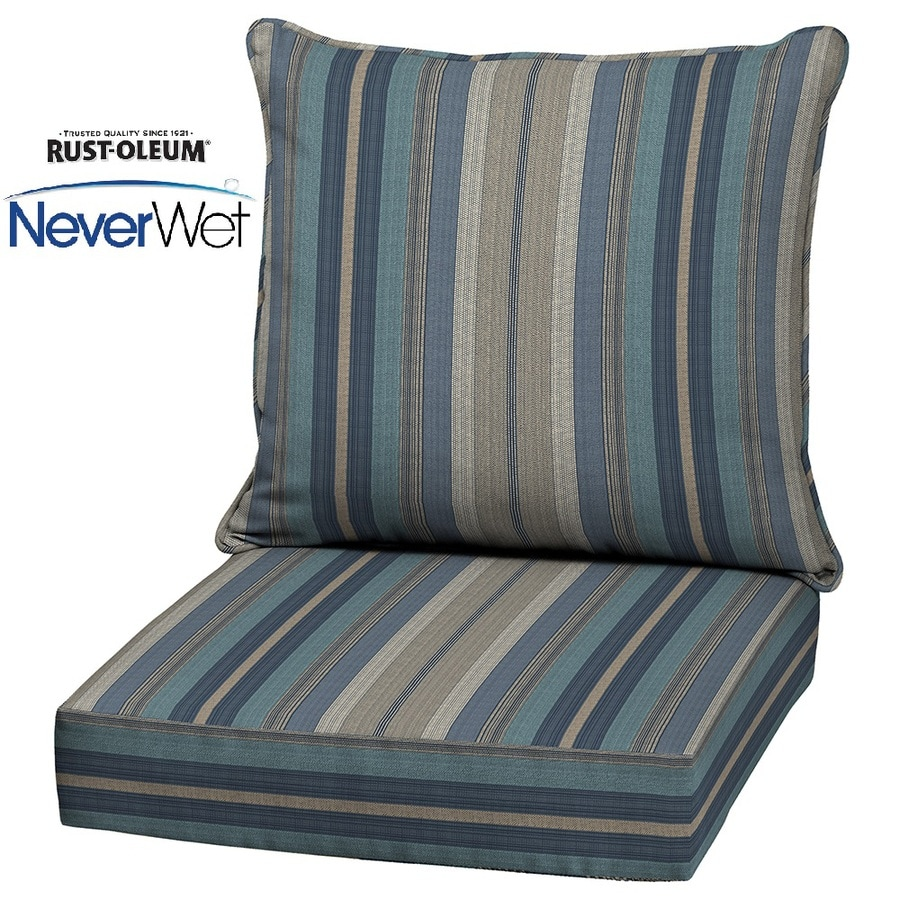 allen + roth Blue Stripe Glenlee Cushion For Deep Seat Chair