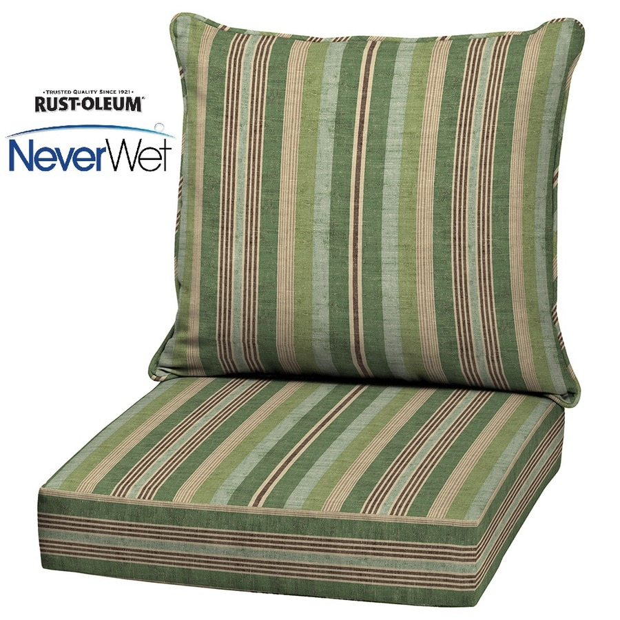 Allen Roth Multi Eucalyptus Glenlee Stripe Deep Seat Patio Chair Cushion For