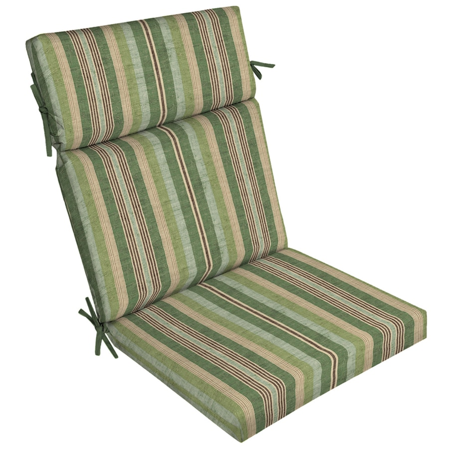 Merveilleux Allen + Roth 1 Piece Green Stripe High Back Patio Chair Cushion