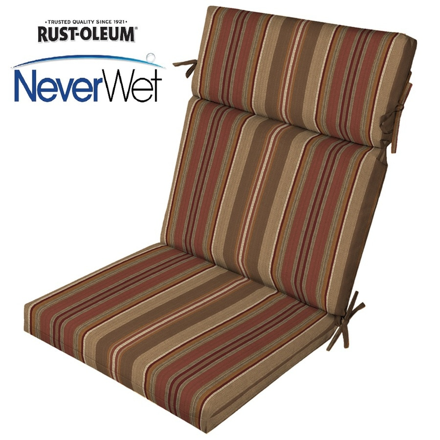 Allen Roth Stripe Chili High Back Patio Chair Cushion For
