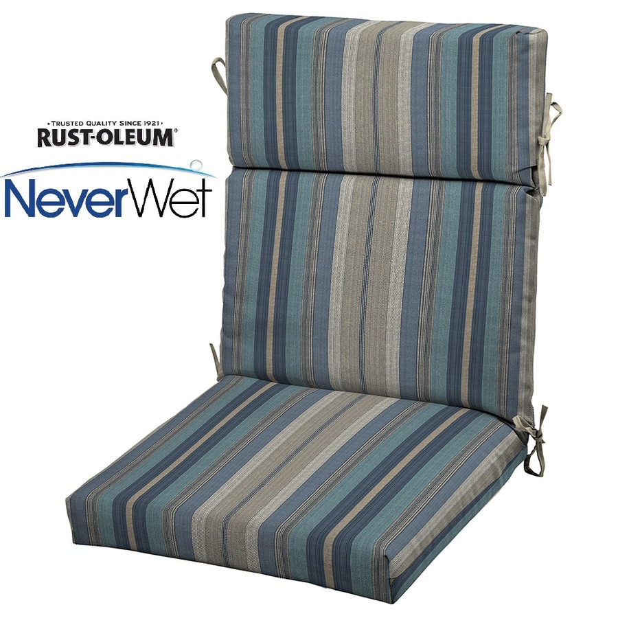 Allen Roth Stripe Blue High Back Patio Chair Cushion For