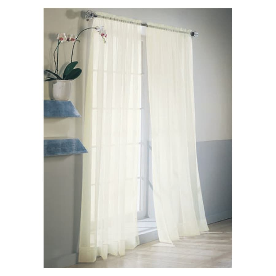 Style Selections High Twist Voile 95-in L Solid Eggshell Rod Pocket Sheer Curtain