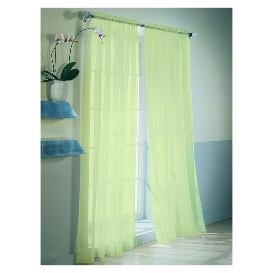 Style Selections High Twist Voile 84-in L Solid Citrine Rod Pocket Sheer Curtain