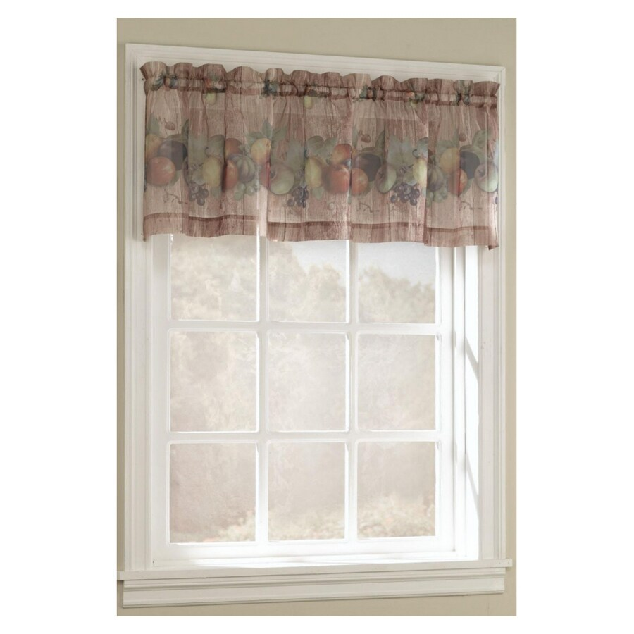 Style Selections Fruitgrove 17-in Multicolor Polyester Rod Pocket Valance
