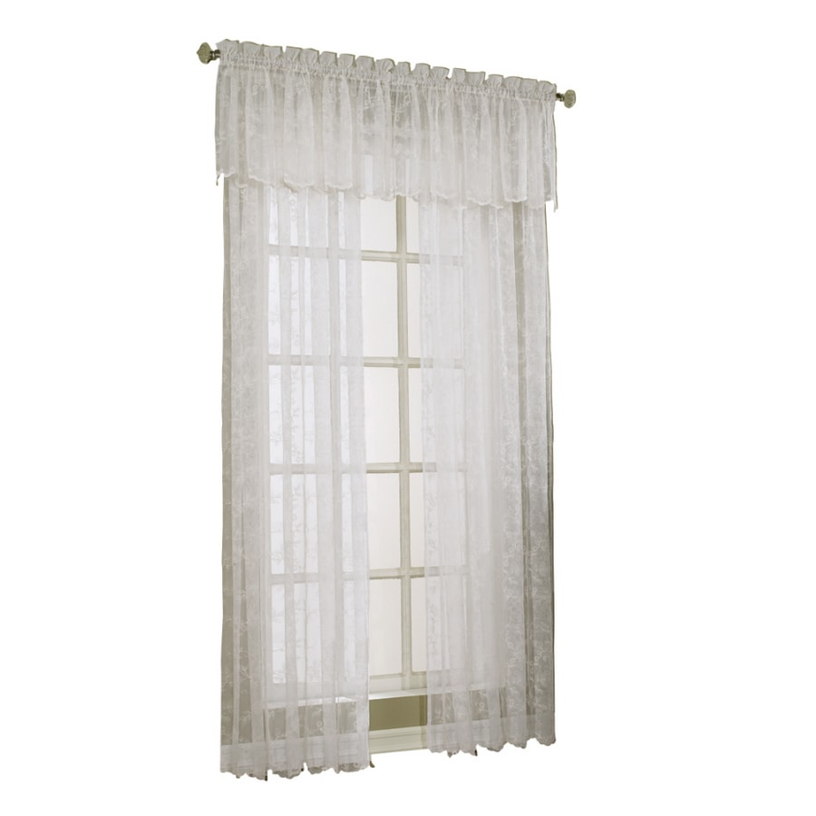 Style Selections Cecelia 17-in White Polyester Rod Pocket Sheer Valance