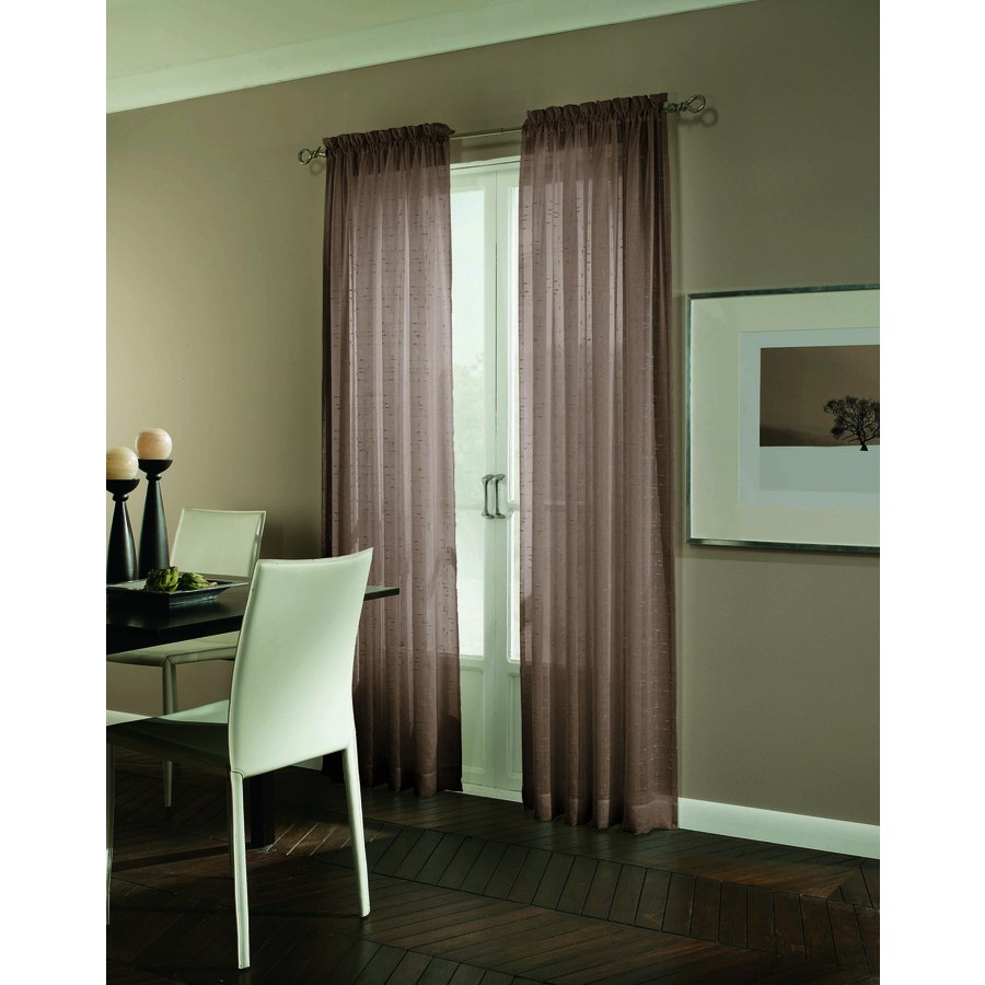 allen + roth Williamston 63-in Cocoa Polyester Rod Pocket Light Filtering Single Curtain Panel