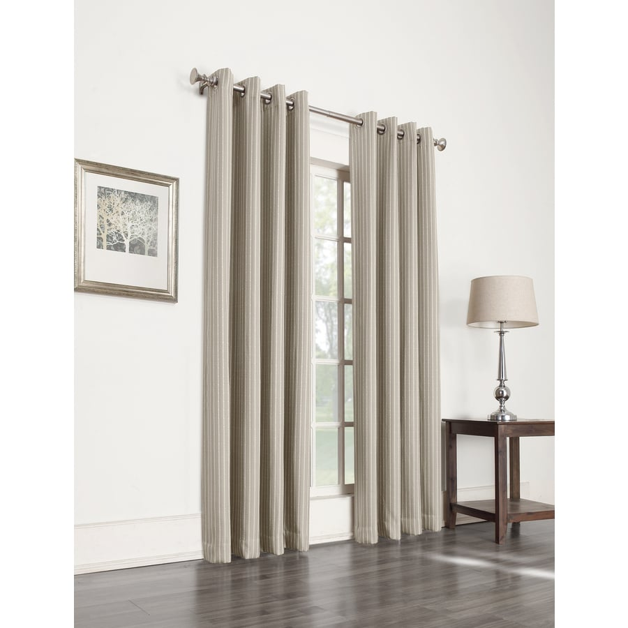 allen + roth Withern 84-in Straw Polyester Grommet Blackout Single Curtain Panel
